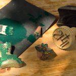 Textildruck-Model aus Holz